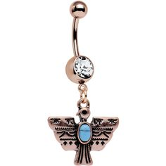 Clear Gem Faux Turquoise Rose Gold Plated Totem Bird Dangle Belly Ring