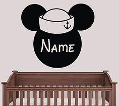 Personalized Custom Name Mickey Mouse in Hat Vinyl Decal Wall Stickers Decor MK1480 ** Visit the image link more details-affiliate link. #DisneyStickers