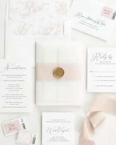 Vellum Wedding Invitations with gold posy wax seal Shine Wedding Invitations, Wedding Stationery, Italian Wedding Invitations, Invitation Envelopes, Shower Invitations, Invitation Wording, Invitation Kits, Invitation Templates, Wedding Events