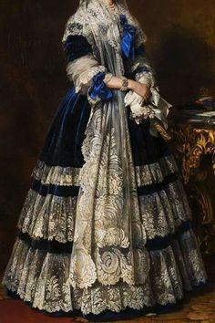 Detail - Queen Marie Amelie of Bourbon-Two Sicilies by Franz Xaver Winterhalter, 1842 Old Dresses, Pretty Dresses, Beautiful Dresses, Vintage Dresses, Moda Retro, Moda Vintage, Victorian Fashion, Vintage Fashion, Dress Painting