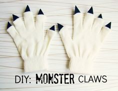 DIY Monster Claws by thesoutherninstitute.com: Easy peasy with a pair of bargain basket gloves and some felt triangles! #Halloween #Kids #Monster_Gloves