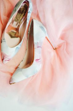 ted baker court shoes with floral print and rose gold insoles displayed on a pink tulle skirt Unique Wedding Shoes, Wedding Shoes Bride, Ted Baker Shoes, Pink Tulle Skirt, Floral Pumps, Sparkle Heels, Colorful Shoes, Walk This Way, Party Shoes