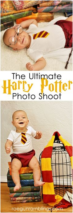 Adorable baby Harry Potter pictures. Great ideas for poses and props at Rae Gun Ramblings