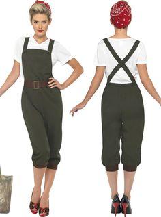 Women Land Wartime Outfit WW2 1940 s Fancy Dress Costume Size 6 24 ... 40s f4c032e0c