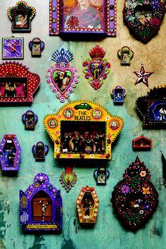Mexican Home Decor, Mexican Folk Art, Day Of The Dead Art, Matchbox Art, Tin Art, Altar Decorations, Mexican Designs, Assemblage Art, Art For Art Sake
