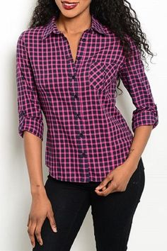 Gingham print top features button up closure and adjustable length sleeves.   Fuchsia Black Top  by Adore Clothes & More. Clothing - Tops - Button Down Clothing - Tops - Blouses & Shirts Washington