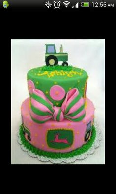 Pink girl john deere cake