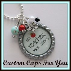 PERSONALIZED+Teacher+With+Apple++Bottle+Cap+by+CustomCapsForYou,+$10.95