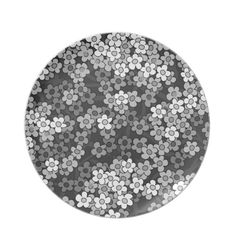 Black, white, grey retro floral pattern dinner plate  #Flowers, #floral, #retro, #blackwhite, #dinnerplate See more #gifts here http://www.zazzle.com/zazzleproducts1?rf=238228936251904937=zBookmarklet