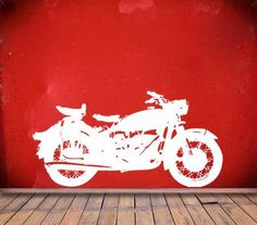 Classic Motorcycle vinyl Wall DECAL harley davidson interior design