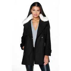 Boohoo Boutique Boutique Ava Faux Fur Collar Wool Look Coat ($96) ❤ liked on Polyvore featuring outerwear, coats, black, wool coat, puffer coat, bomber coats, black raincoat and black wrap coat