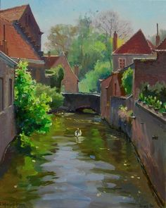 Swan Canal, Bruges,  the Baranovs