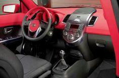 Red and black kia soul interior
