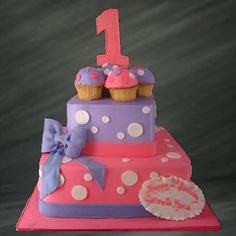 Custom Birthday Cake. Pink and Purple cake.   Palermo's Bakery creates custom cakes, wedding cakes, birthday cakes, graduation cakes, cake pops, cupcakes, cookies, custom dessert tables and serves the New Jersey/New York Area