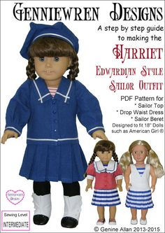 """HARRIET - EDWARDIAN STYLE SAILOR OUTFIT 18"""" DOLL CLOTHES"""