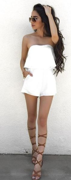 #summer ##style #outfitideas   White Off The Shoulder Romper