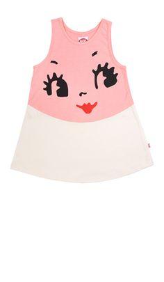 Mini dress (pink) with doll face via bonnie tsang