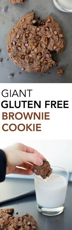 Giant Gluten Free Brownie Cookie for Two: A seriously rich and decadent chocolate cookie that tastes like a brownie! It's vegan, healthy, and perfectly portioned for two! Great for date night! Gluten Free Brownies, Gluten Free Cookies, Gluten Free Desserts, Dairy Free Recipes, Vegan Desserts, Vegan Recipes, Healthy Cookie Recipes, Healthy Meals For Two, Healthy Cookies