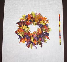 "Needlepoint, Needlepoint Designs, Needlepoint Canvases, Needlepoint Wreaths, Needlepoint Supplies, Wreath Designs, Leaves, ""Autumn Wreath"" by terrymillerdesigns"
