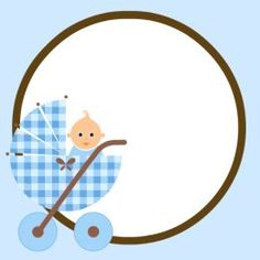 Baby scrapbook embellishment: blue with baby boy in baby carriage