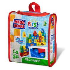 The perfect Mega Bloks tool for educational, imaginative play, the Mega Bloks ABC Spell! First Builders Set includes over 50 letters in big, vibrant blocks to support your child's language development. The Mega Bloks ABC Spell! First Builders Set encourages letter recognition and basic spelling skills for those ages 1 to 5 years old.