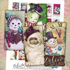 Snowman, Digital Collage, Domino Collage Sheet, 1x2 Inch Images, Instant Download, Vintage Snowmen, Christmas Images, Printable Ephemera by calicocollage on Etsy