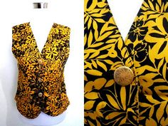 Autumn / Fall Sale: black and yellow floral vest (small) by VintageHomage