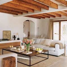 Wood beams warm modern space