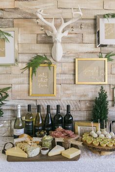 Holiday Wine + Craft Party from One Hope Wine + J Wiley Photography, gold frames, wall collage, wall quotes, antlers, deer head