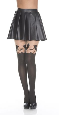 Black Cute Puppy Dog Face Pantyhose