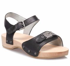 Dr Scholls Womens Original  Wooden Black Leather Sandals Size 9   $ 98 #DrScholls #Sandals #Casual