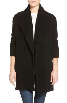 james perse open drape bouclé cardigan in black wool blend