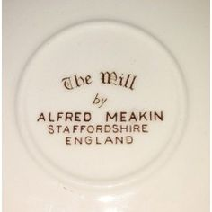 The Mill by Alfred Meakin. No damage in the English Porcelain category was listed for on 12 Feb at by TomHarvey in Vereeniging Alfred Meakin, Breakfast Bowls, Milling, Dinner Plates, Porcelain, English, Porcelain Ceramics, English Language, Tableware