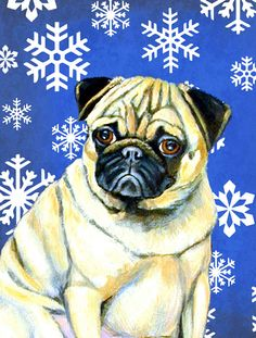Pug Winter Snowflakes Holiday House Vertical Flag