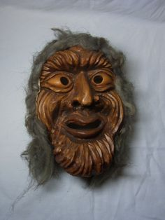 Vintage German Black Forest Carved Wood Wall Mask Witch #AZ2 #BlackForest