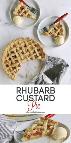 Best Dessert Recipes, Fruit Recipes, Pie Recipes, Fun Desserts, Delicious Desserts, Rhubarb Custard Pies, Homemade Pastries, Rhubarb Recipes, Pastry And Bakery