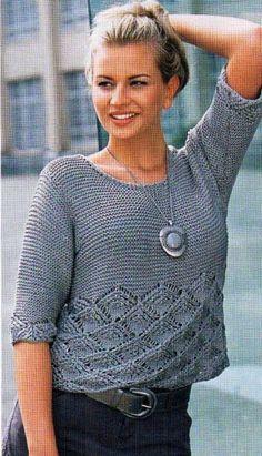 Летний пуловер, связанная спицами. Модели для полных