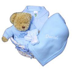 £40 Personalised Blue Baby Basket Gift Set