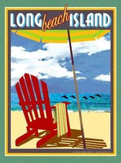 Long Beach Island-Art Deco Style Vintage Travel Poster-by Aurelio Grisanty Nj Beaches, East Coast Beaches, Vintage Beach Posters, Vintage Signs, Long Beach Island, Thing 1, Beaches In The World, Beach Town, Retro Art