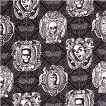 black Haunted Gallery Michael Miller monster Halloween fabric Freak Out