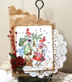 LOTV Vintage Christmas Tag using Feathered Friends - http://www.liliofthevalley.co.uk/acatalog/Stamp_-_Feathered_Friends.html