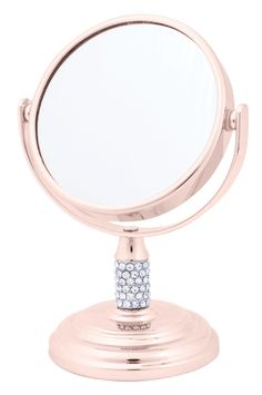Danielle Enterprises Magnification Dual Sided Crystal Studded Vanity Mirror, Mini, Rose Gold >>> Click image for more details. (This is an affiliate link and I receive a commission for the sales) Rose Gold Room Decor, Rose Gold Rooms, Makeup Storage, Makeup Organization, Chrom Nails, Gold Everything, Gold Bedroom, Beauty Room, Bronze