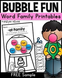 2+page+freebie+from+my+word+families+packet!Your+students+will+have+so+much+fun+practicing+their+word+families+with+this+bubble+gum+themed+resource!+The+instructions+are+the+same+for+each+page.+Cut+the+gum+balls+and+glue+the+words+that+match+the+word+family+inside+of+the+gumball+machine.