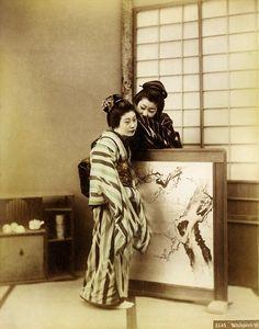 Geisha whispering, ca. 1890s
