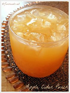 Jam Hands: Apple Cider Punch - Two ingredients: Apple Cider & Ginger Ale - Over ice.