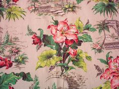 Vintage Bark Cloth Drape/Fabric Floral Print by EvergreenLane
