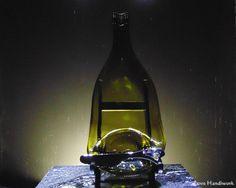 Slumped Bottle Cracker / Dip Dish Single Green by LoveHandyWork Wine And Liquor, Liquor Bottles, Glass Bottles, Slumped Glass, Fused Glass, Bottle Slumping, Cracker Dip, Recycled Bottles, Gifts For Husband