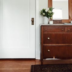"gillianstevens: ""Moving into a new space has inspired me to de-clutter and keep things organized. Crossed fingers this inspiration doesn't go away. Wood Dresser, Dresser As Nightstand, Im Coming Home, Interior And Exterior, Interior Design, Modern Country, Modern Farmhouse, Cozy Place, Living Spaces"