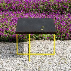 ALGERI // design coffe table with Shou Sugi Ban tecnique // carapace design - iron & wood italian handmade design
