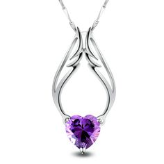 MJH 925 Silver Cute Heart Amathyst Wing Glamorous Necklace For Lady